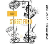 hand drawn fast food banner.... | Shutterstock .eps vector #794244085
