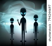 aliens stand in the background... | Shutterstock . vector #794244697