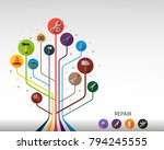 tools flat icon concept. vector ... | Shutterstock .eps vector #794245555