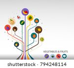 vegetables and fruit flat icon... | Shutterstock .eps vector #794248114