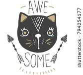 Stock vector kawaii cat vector t shirt print so cute valentine s day animal drawing children illustration 794254177