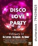 disco night party vector poster ... | Shutterstock .eps vector #794254825