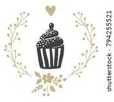 hand drawn sketch cupcake... | Shutterstock .eps vector #794255521