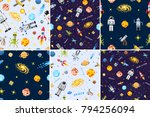 Space Seamless Pattern Set...