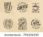 set of coffee logos. modern... | Shutterstock .eps vector #794256535