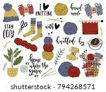 set of tools for knitting. yarn ... | Shutterstock .eps vector #794268571
