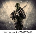 portrait of a dangerous masked... | Shutterstock . vector #794273461