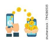 money transfer using mobile...   Shutterstock .eps vector #794280535