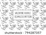 valentine doodle pattern.... | Shutterstock .eps vector #794287357