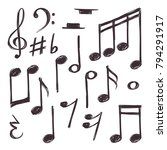 hand drawn music note. vector... | Shutterstock .eps vector #794291917