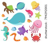 cartoon childrens aquarium and... | Shutterstock .eps vector #794292001