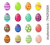 Cartoon Happy Easter Cute Eggs...