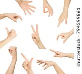 various hands gestures and... | Shutterstock . vector #794299861