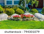 flowers  nicely trimmed bushes...   Shutterstock . vector #794301079