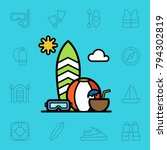 set of summer activity icons.... | Shutterstock .eps vector #794302819