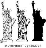 ny tourism. statue of liberty.... | Shutterstock . vector #794303734