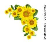 sunflowers corner arrangement... | Shutterstock . vector #794306959