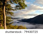 Dawn up in the mountains - stock photo