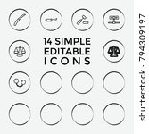 set of 14 crime outline icons...