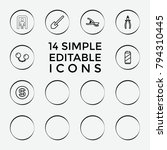 set of 14 metal outline icons...