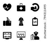 patient icons. set of 9... | Shutterstock .eps vector #794311495
