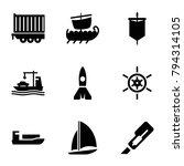 ship icons. set of 9 editable... | Shutterstock .eps vector #794314105
