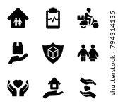 insurance icons. set of 9... | Shutterstock .eps vector #794314135