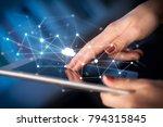 female hands touching tablet... | Shutterstock . vector #794315845