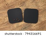 two square black coasters and... | Shutterstock . vector #794316691