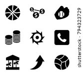 round icons. set of 9 editable...