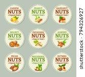 set of nuts labels. vector... | Shutterstock .eps vector #794326927