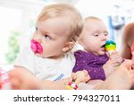 babies with pacifier in toddler ... | Shutterstock . vector #794327011