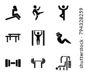 gym icons. set of 9 editable... | Shutterstock .eps vector #794328259