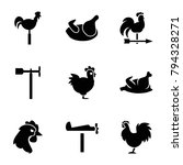 cock icons. set of 9 editable... | Shutterstock .eps vector #794328271
