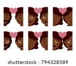 vector set cute kawaii couple... | Shutterstock .eps vector #794328589