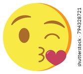 vector cute kawaii emoji... | Shutterstock .eps vector #794328721