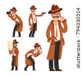 cartoon private detective.... | Shutterstock .eps vector #794330314