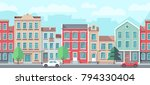 vector cityscape with old... | Shutterstock .eps vector #794330404