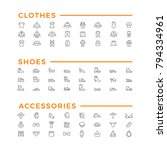 set line icons of clothes ... | Shutterstock . vector #794334961