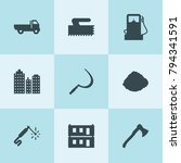 set of 9 industry filled icons... | Shutterstock .eps vector #794341591