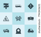 set of 9 traffic filled icons... | Shutterstock .eps vector #794343631