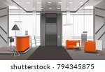 realistic lobby interior in... | Shutterstock .eps vector #794345875
