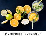 fresh homemade lemonade in... | Shutterstock . vector #794353579