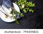 festive table setting for... | Shutterstock . vector #794354821