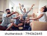 five happy friends joking and... | Shutterstock . vector #794362645