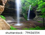 Twin waterfalls crash into Tonti Canyon on a spring day at Starved Rock State Park