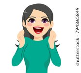 really excited young beautiful...   Shutterstock .eps vector #794365849