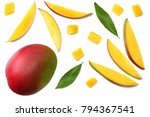 mango slice with green leaves... | Shutterstock . vector #794367541