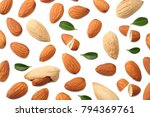 almonds isolated on white... | Shutterstock . vector #794369761
