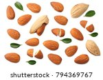 almonds isolated on white... | Shutterstock . vector #794369767